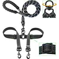iYoShop Adjustable Dual Dog Leash, Double Dog Leash, 360 Swivel No Tangle Double Dog Walking Training Leash for Two Dogs, Black, Medium Large