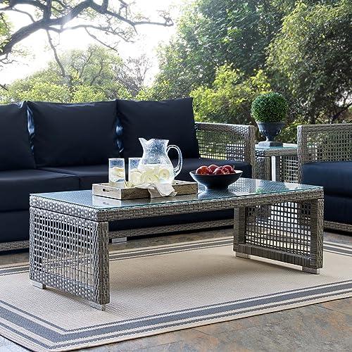 Modway EEI-2919-GRY Aura Rattan Outdoor Patio Coffee Table, Gray Gray