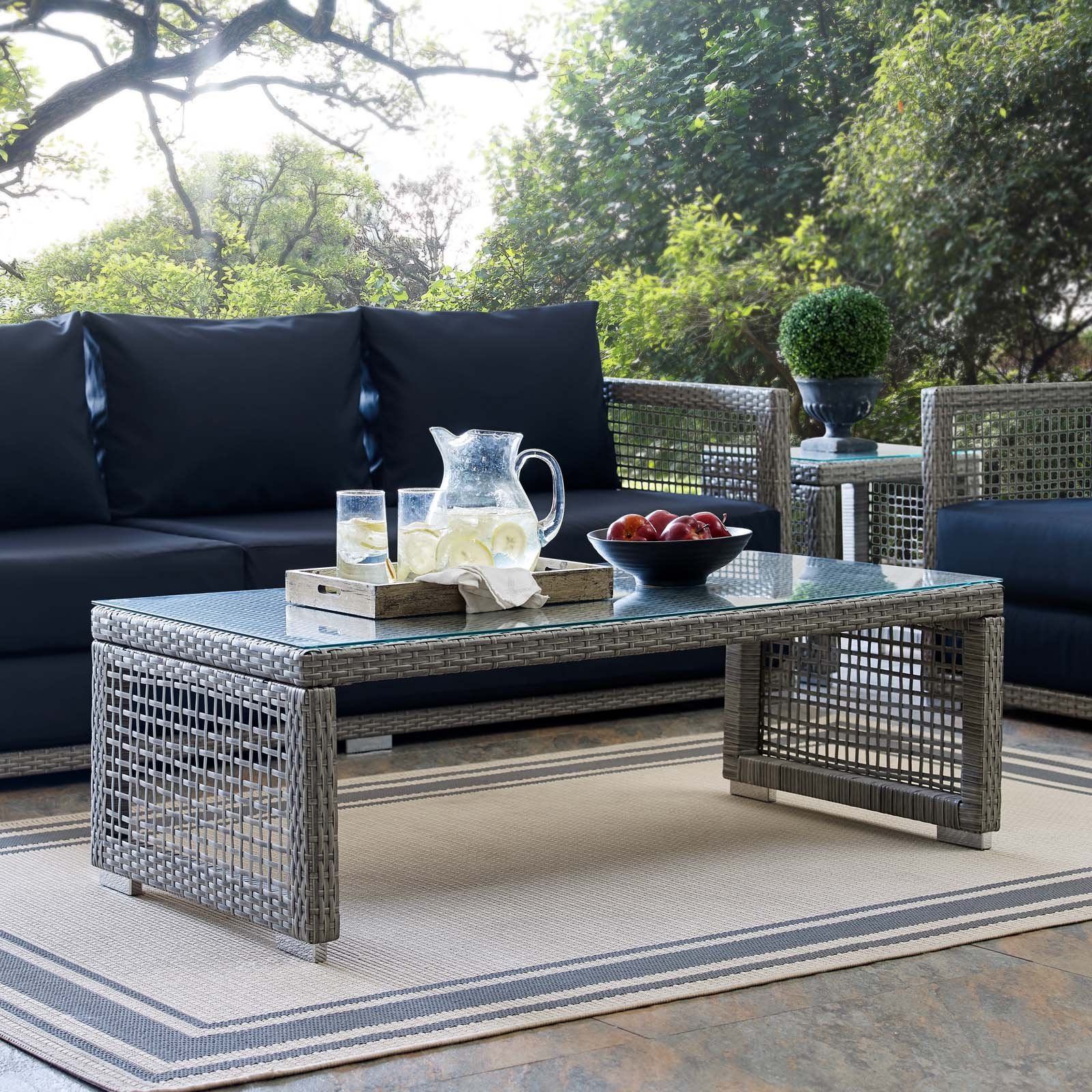 Modway EEI-2919-GRY Aura Rattan Outdoor Patio Coffee Table in Gray
