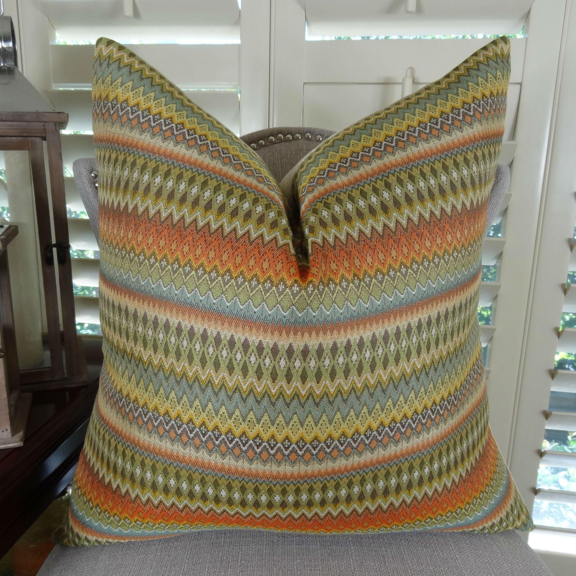 Thomas Collection Decorative Stripe Throw Pillow, Light Green Brown Yellow Orange Gray Cream Tan Stripe Pillow, Zig Zag Chevron Designer Pillow, COVER ONLY, NO INSERT, Made in America, 11042