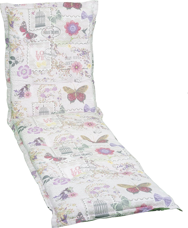 Gartenstuhlauflage Sitzkissen Polster für Gartenliegen Mehrfarbig Beige Violett Rosa Blumen Schmetterling Motiv