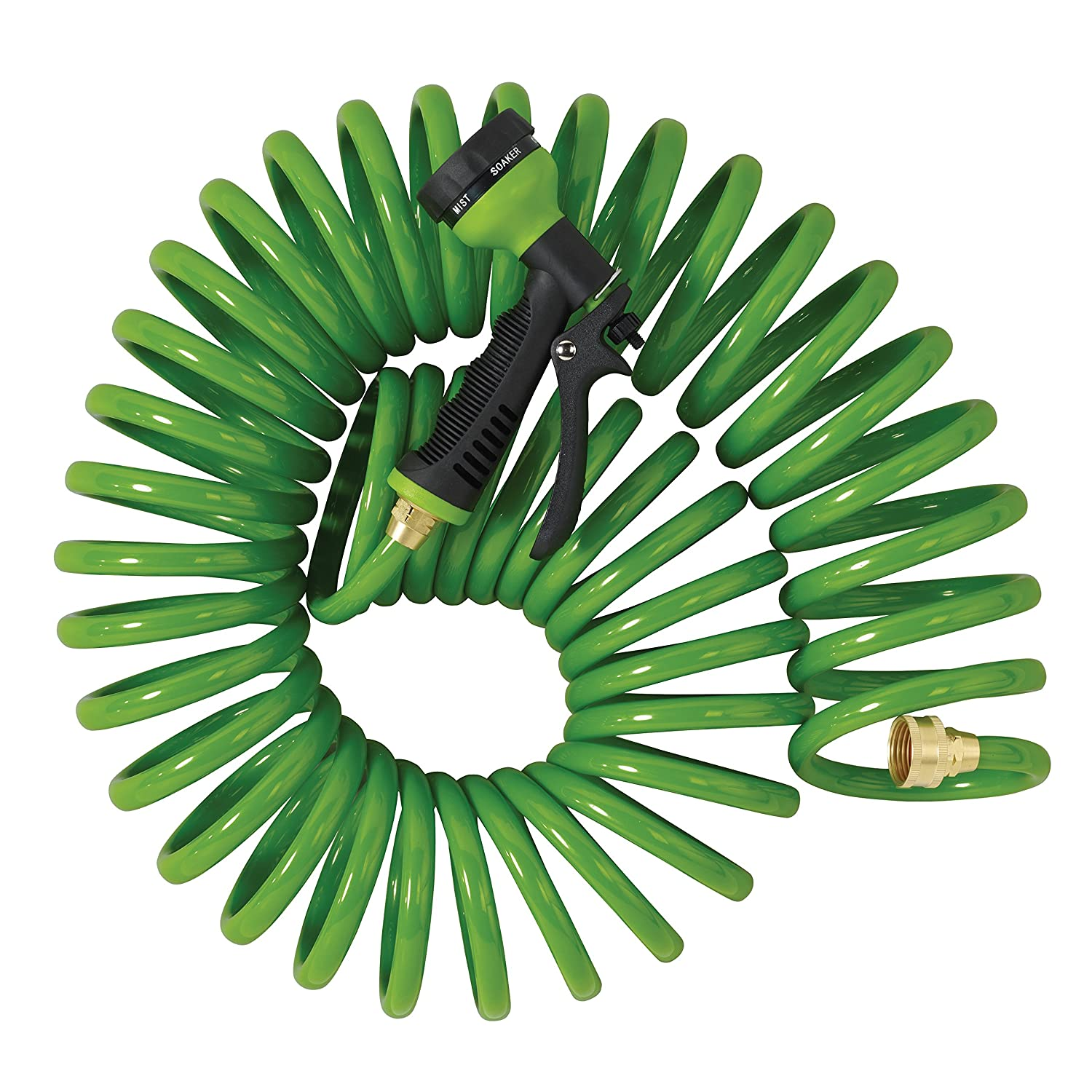 Orbit 27862 25-Foot Coil Hose with Nozzle Green