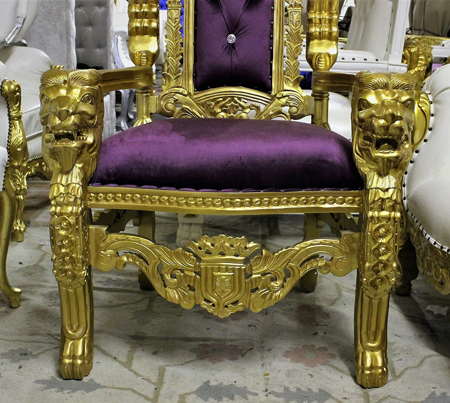 """Amazon Gorgeous 70"""" Tall Hand Carved King Lion Party Throne"""