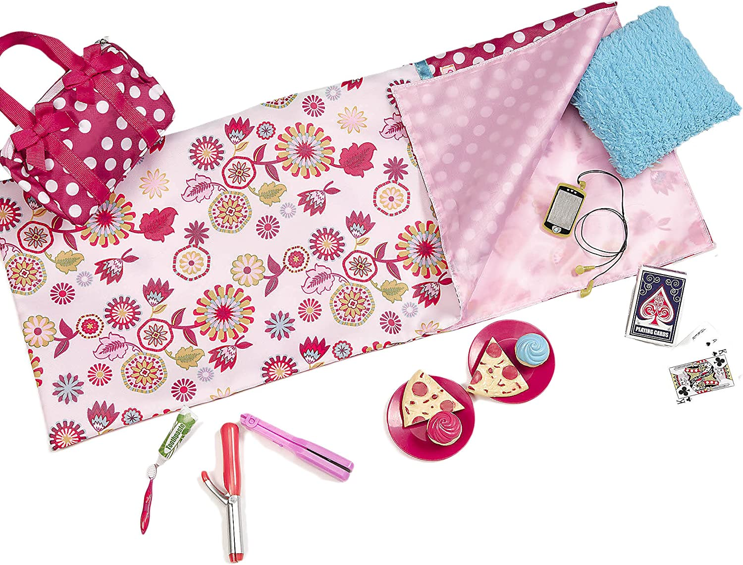 "Our Generation Sleepover Set with Sleeping Bag for 18"" Dolls Polka Dot Sleep Party"