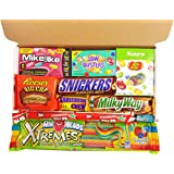 Mini American Candy Box Hamper | Retro Sweets and Chocolate Bar Gift Box Selection | Assortment includes Reeses Cup, Airheads, Charleston Chew, Jelly Belly Sours | 10 items in Retro Sweets Gift Box