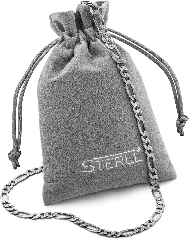 STERLL Homme Argent Cha/îne Sterling 925 60cm Sans Pendentif Oxyd/é Pochette /à Bijoux Cadeau Danniversaire