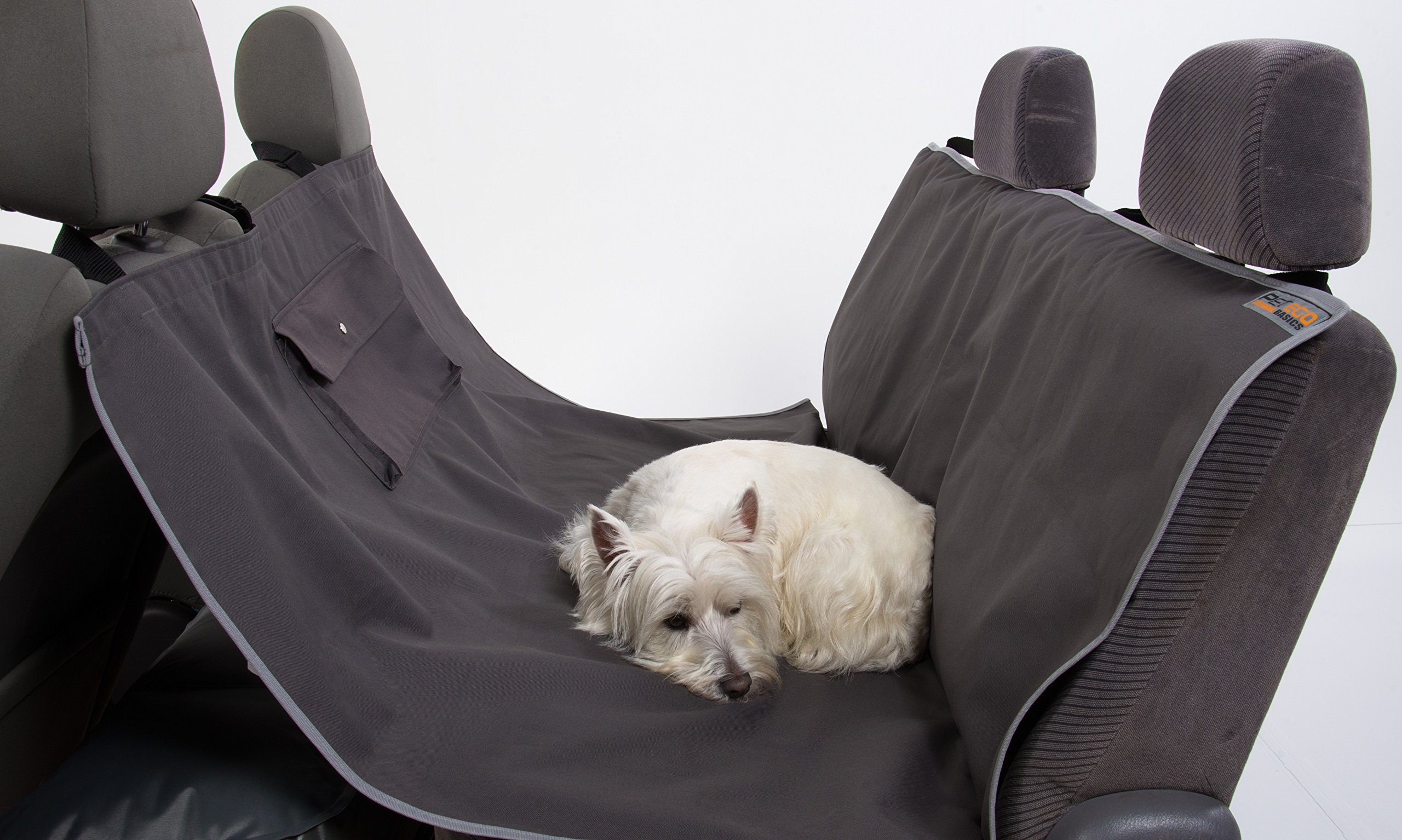 Petego Animal Basics Waterproof Car Seat Cover This Resilient and Stylish Canvas Dog Car Seat Cover Keeps Your Car or SUV Clean Make Traveling with your Pet Easy Anthracite/Grey Rear Seat Dog Hammock