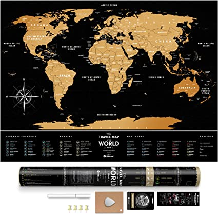 Amazoncom Black Scratch Off World Map Premium Edition X - Map of states ive been to