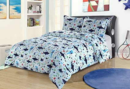 Twin Shark Print Bedding Comforter Bed Set Blue Green Red Ocean Sea Life
