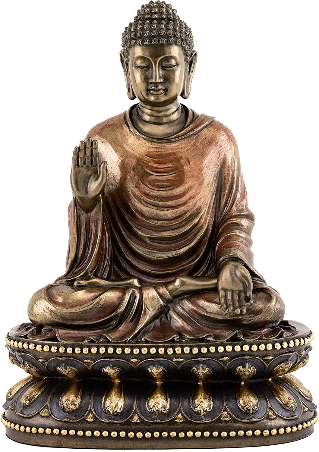 Amazon Com Top Collection Meditating Shakyamuni Buddha Statue Touching The Earth The Enlightened One Sculpture In Premium Cold Cast Bronze 9 Inch Supreme Buddha Figurine Home Kitchen