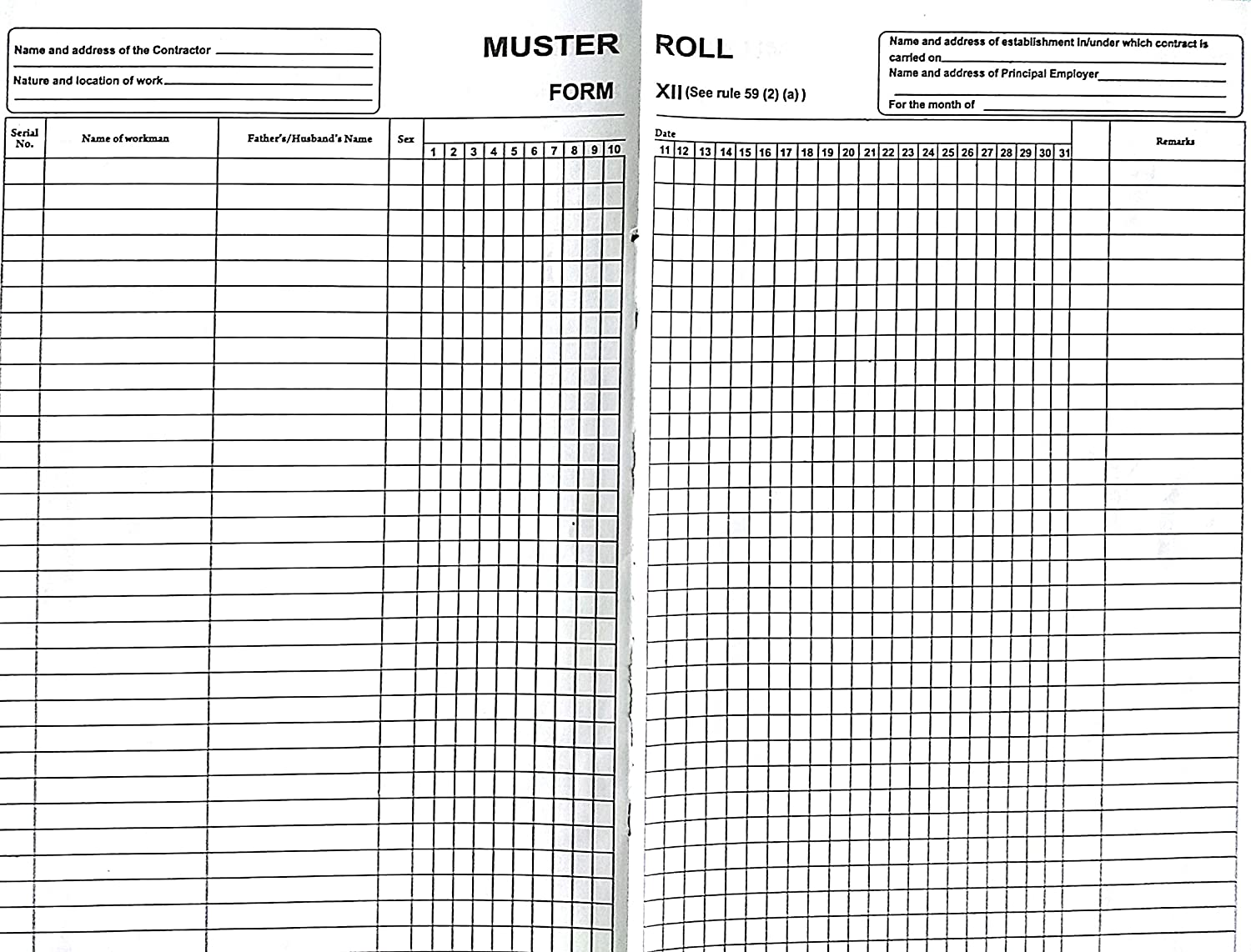 Bapuji Muster Roll Register Form XII Rule 59 2(a) Under