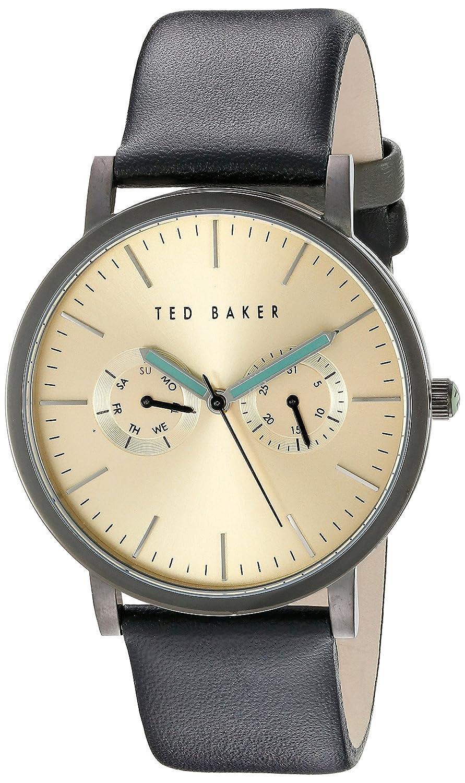 Ted Baker Herren-Uhr - schwarzes Lederband - Zifferblatt in Goldton - TE10024529