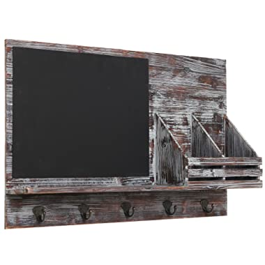 Country Rustic Brown Wood Wall Mounted Entryway Mail Sorter Rack w/ 5 Key Hooks and Black Chalk Board