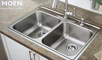Moen 21770 18 Gauge Double Bowl Drop In Sink Stainless Steel