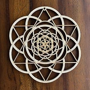 "ZenVizion 5.31"" Seed of Life Wall Art, Fibonacci Sacred Geometry Wall Art, Wooden Wall Art Decor, Yoga Wall Art Hanging, Laser Cut Artwork, Wall Sculpture Symbol, Gift purpose, Car Hanger"