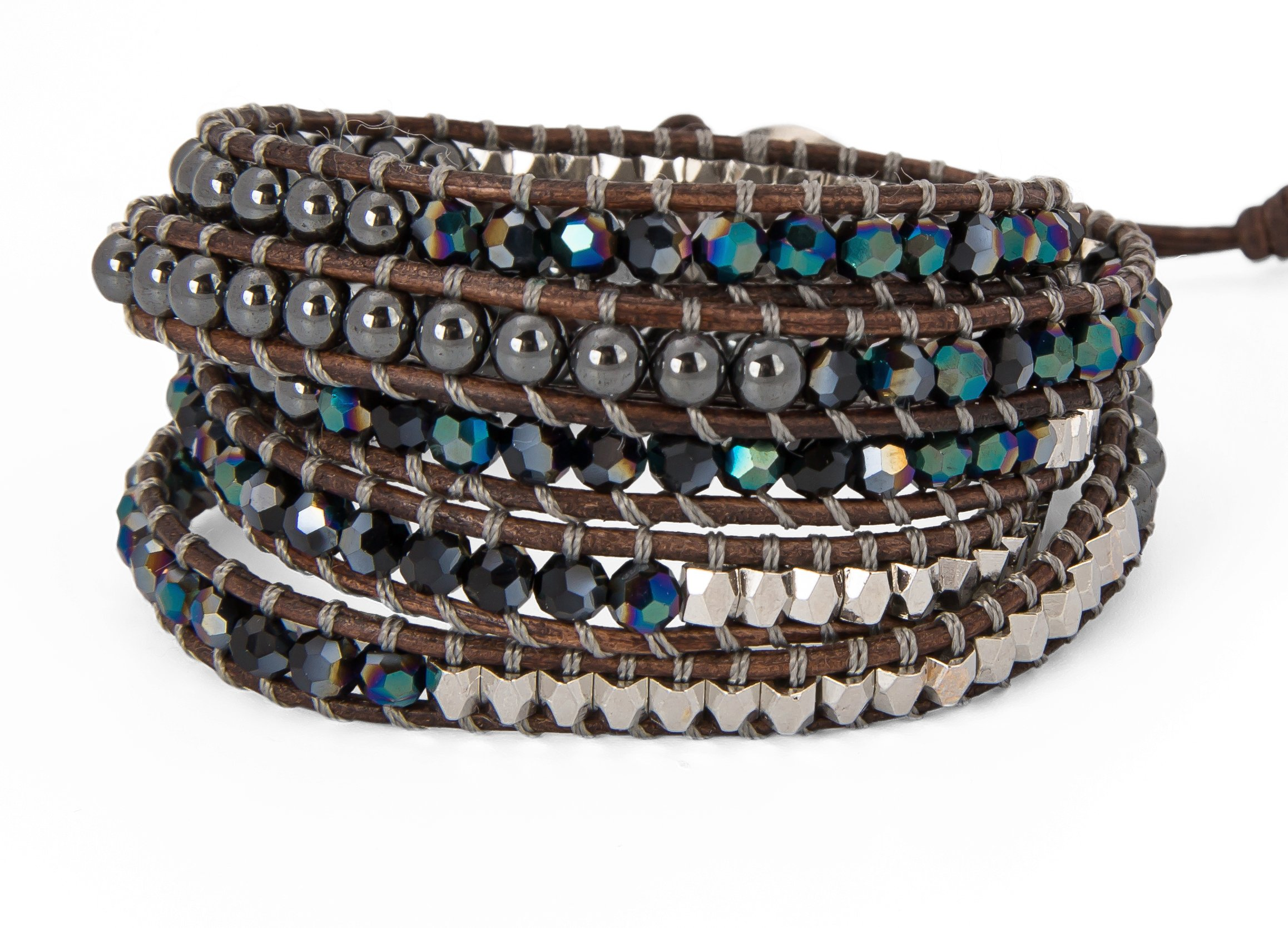 SPUNKYsoul 5 Wrap Bracelets Blue Irridescent Silver & Hematite Collection
