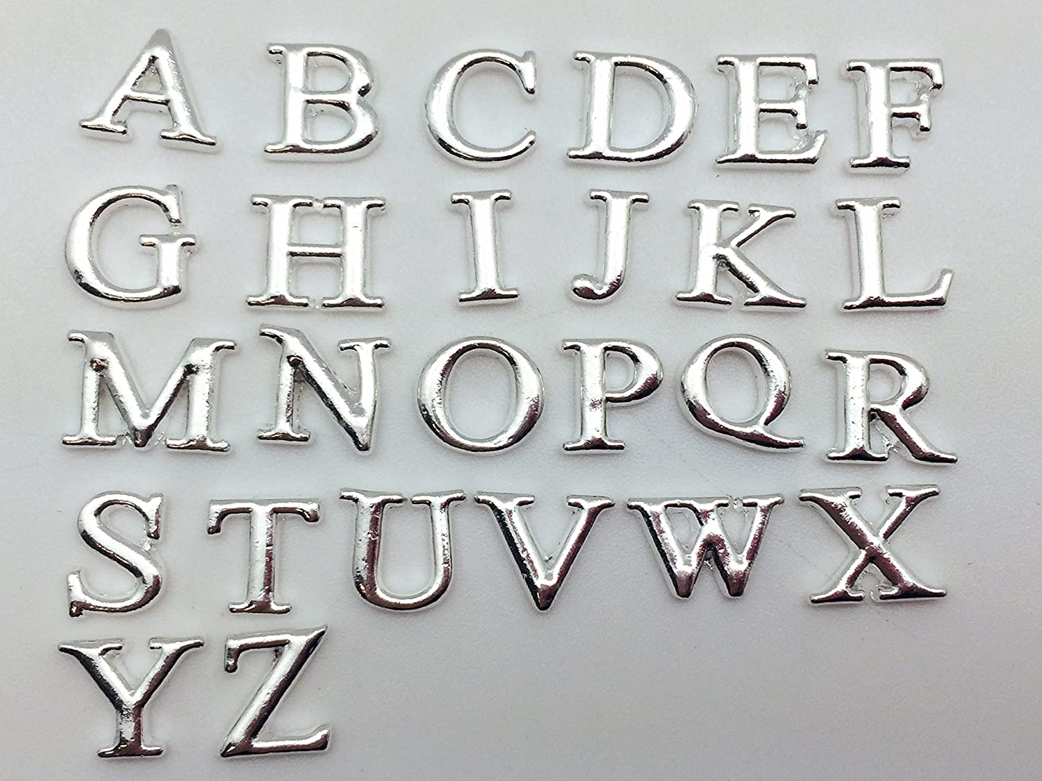 PEPPERLONELY Brand 26PC A-Z Alphabet Letter Silver Alloy Metal Floating Charms for Floating Lockets