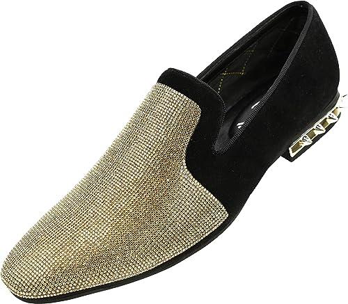 Amali Adkin, Men's Slippers Mens Casual Shoes Mens Slip On Shoes Loafers for Men Embellished Suede, Spiked Heel, Fashion and Designer