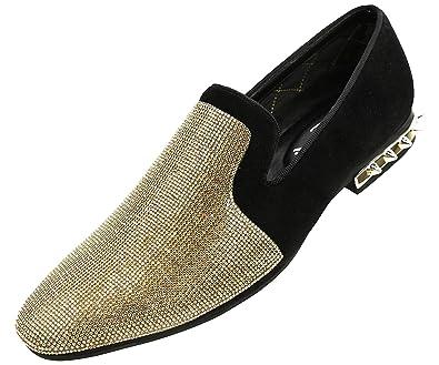 85df7657a45b6 Amazon.com | Amali Men's Rhinestone Embellished Faux Suede Smoking Slipper  with Spiked Heel Dress Shoe, Style Adkin | Loafers & Slip-Ons