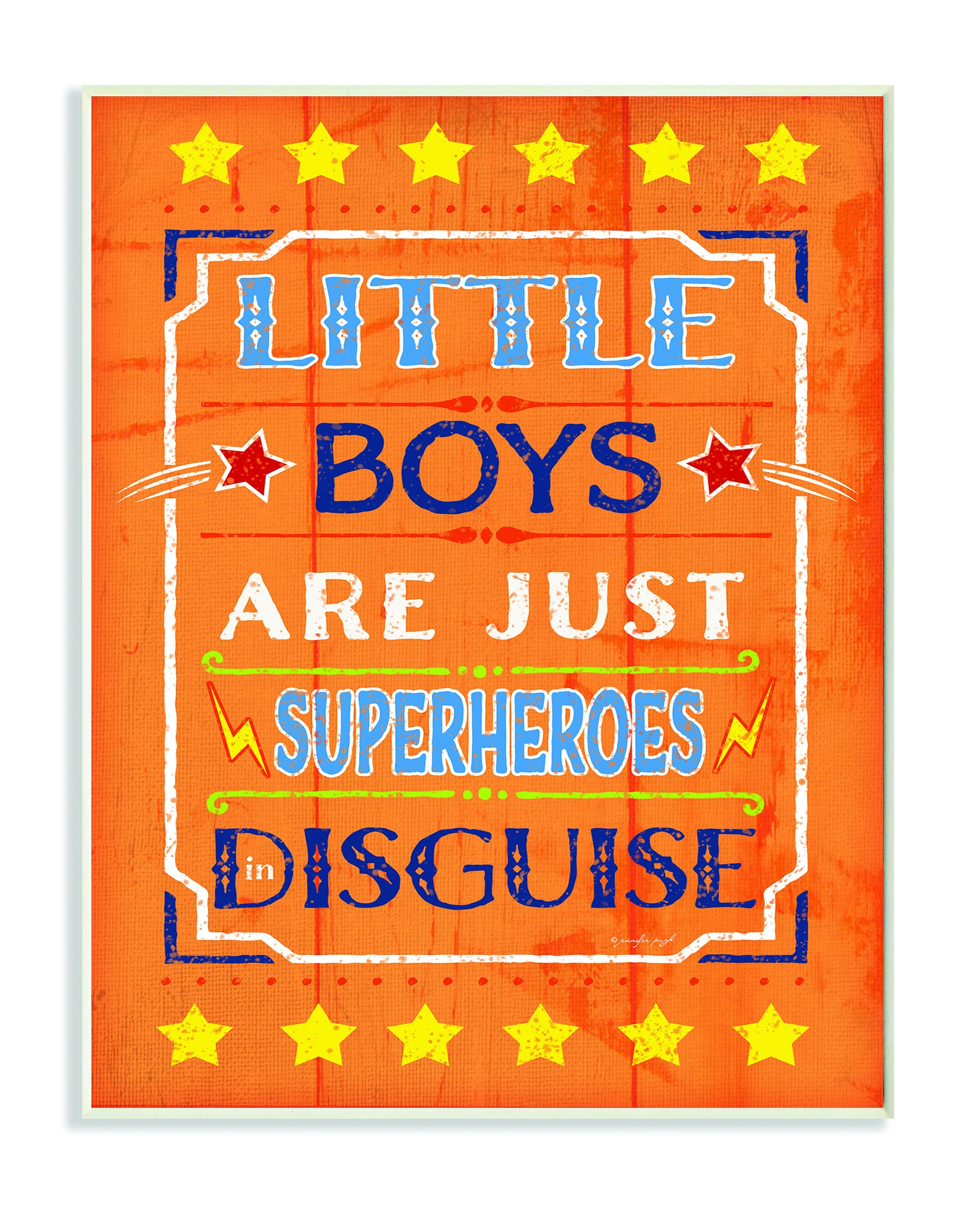 Stupell Home Décor Little Boys Are Just Superheroes In Disguise Textual Art Wall Plaque, 11 x 0.5 x 15, Proudly Made in USA