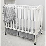 American Baby Company Heavenly Soft Minky Dot 3-Piece Mini/Portable Crib Bedding Set, Grey