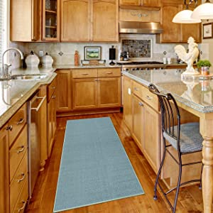 Maxy Home Runner Rug 2x7 Solid Teal Rubber Backed Non Slip for Any Room, Kitchen Rugs and Mats, Washable, Made in Europe