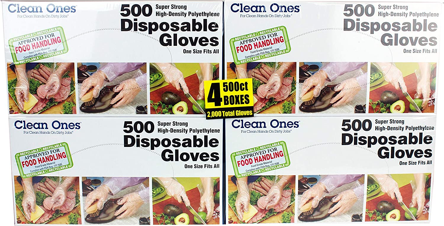 Clean Ones 2000-Count Disposable Food-Safe, One Size Poly Gloves, Pack of 4, 2000, Clear