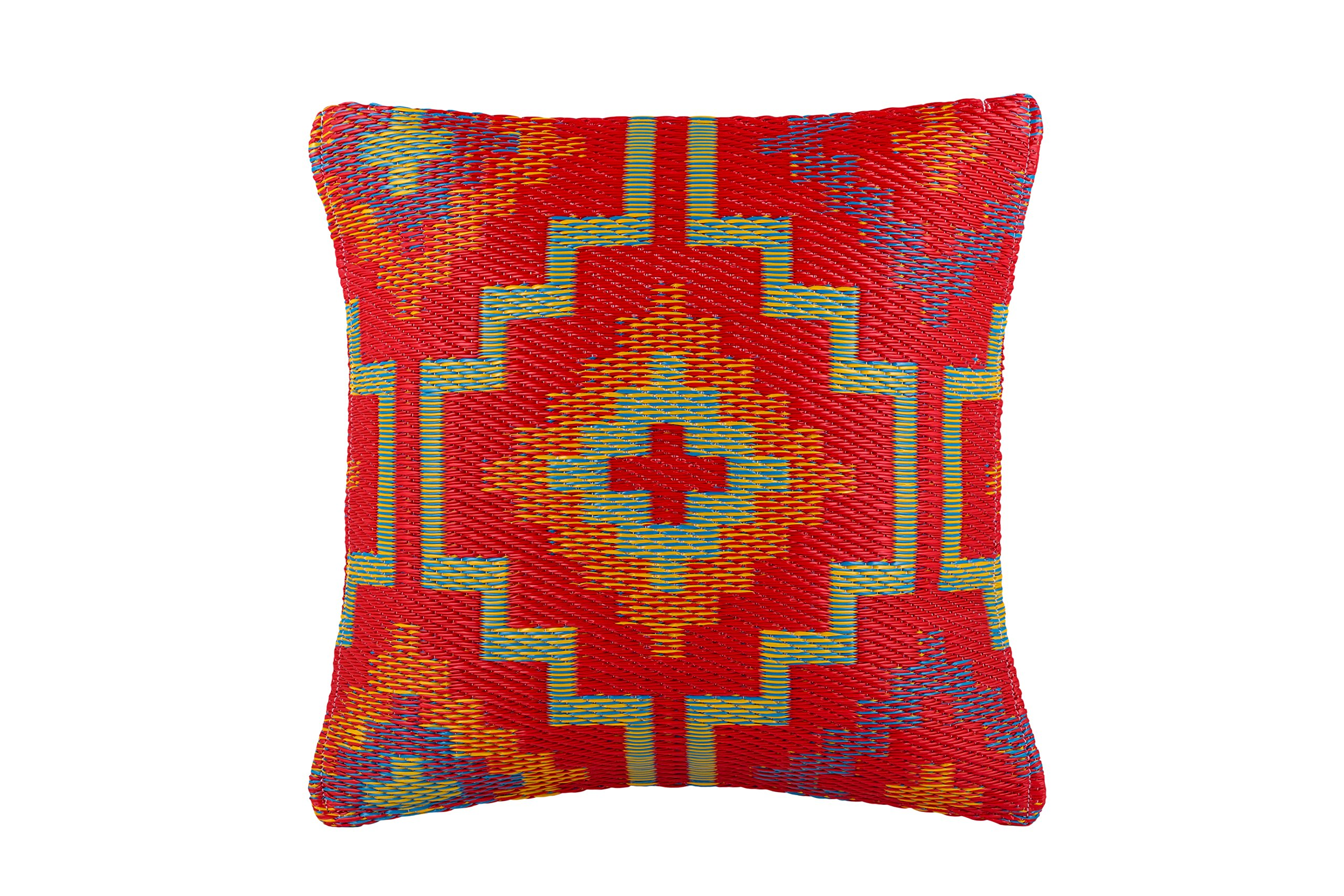 "Fab Habitat Outdoor Floor Cushion, UV & Weather Resistant, Recycled Plastic - Lhasa - Orange & Violet (20"" x 20"") - HANDMADE and ECO-FRIENDLY made from tightly woven recycled plastic. Stuffed with soft polystyrene beads for added comfort and strength. MOLD and MILDEW RESISTANT, UV RESISTANT TO PREVENT FADING and sun damage, these weather resistant cushions are durable and functional. EASY CARE - Lightly spot clean or hand wash outdoor cushion fabric with mild detergent and cool water, then let air dry. - patio, outdoor-throw-pillows, outdoor-decor - 91LYxgjLQHL -"