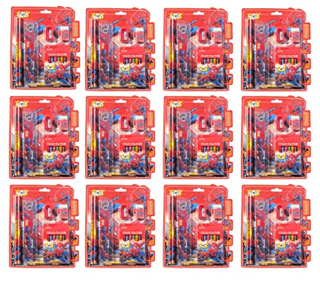 Asera Spiderman Stationery Gift Pack For Kids Set Of 12 Birthday Return Theme Party Amazonin Toys Games