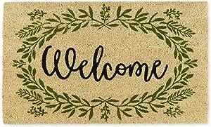 DII Home Natural Coir Doormat, Indoor/Outdoor, 18x30, Greenery Welcome