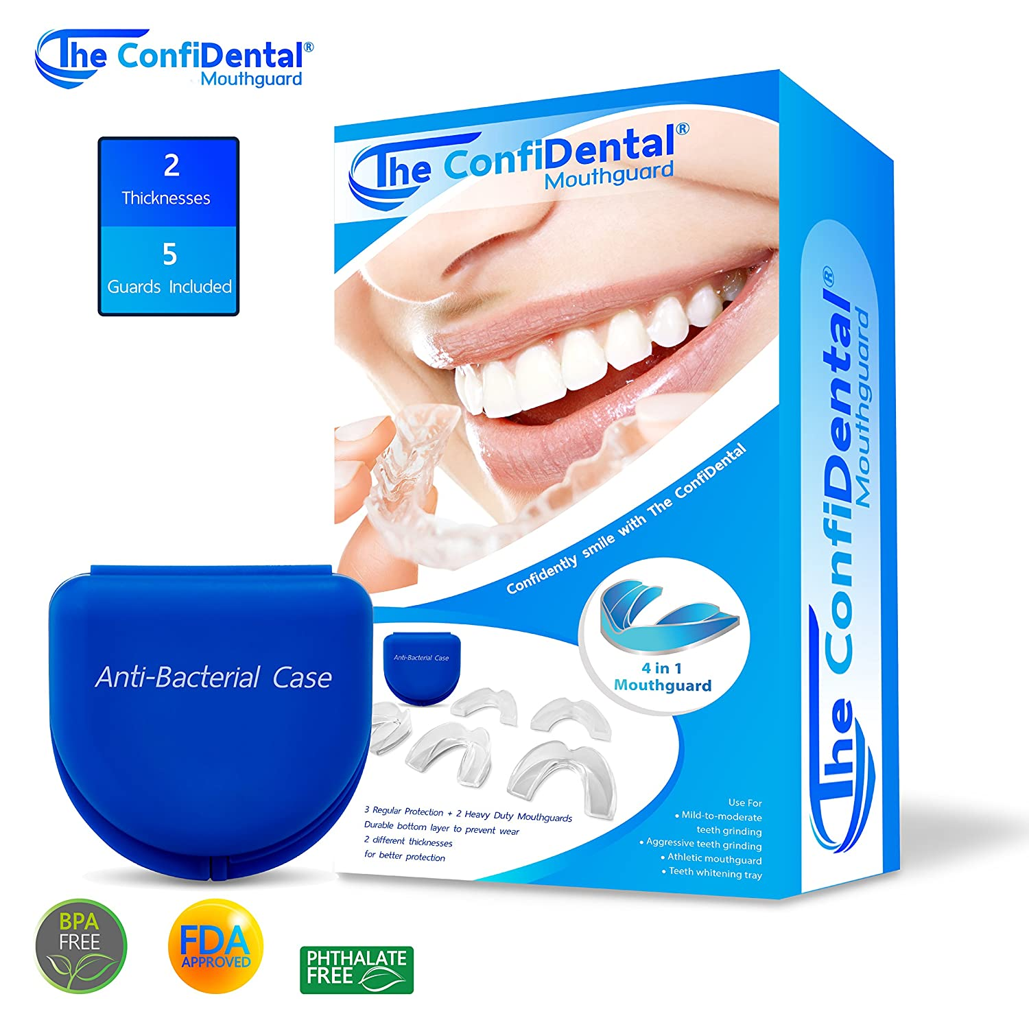 The ConfiDental - Moldable Mouth Guard for Teeth Grinding Clenching Bruxism Sport Athletic Whitening Tray Pack of 5 Including 3 Regular and 2 Heavy Duty Guard (3 (Ill) Regular 2 (ll) Heavy Duty)