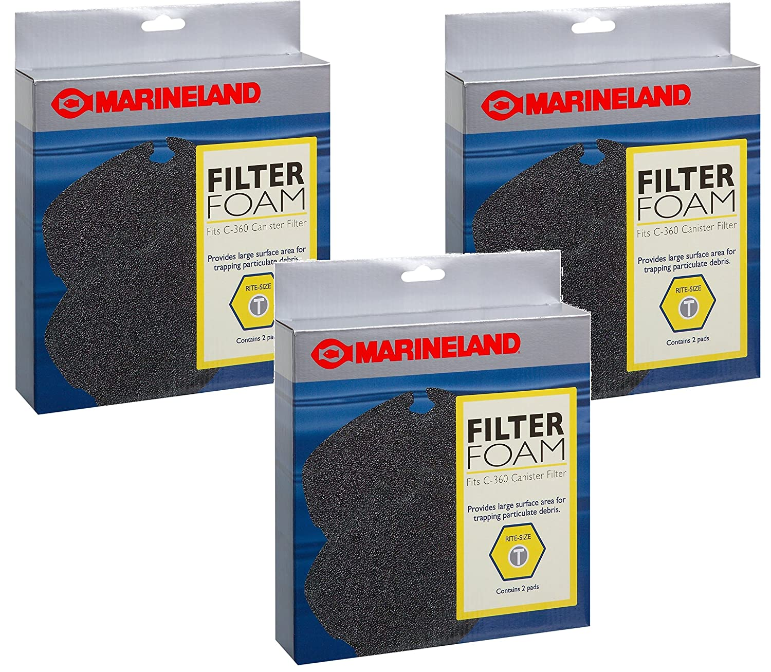 Marineland C-360 Canister Filter Foam Rite-Size T 6 Pads Total(3 Packs with 2 per Pack)