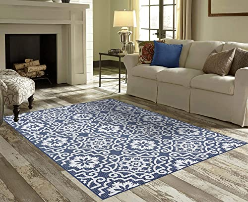 PRIYATE Florida Collection Moro Tile Indoor Outdoor Area Rug Anti-Skid, Kids Friendly Floor Carpet for Living Room, Dining Room, Office Space, Foyer, Patio and More Navy Blue 7 10 X 10