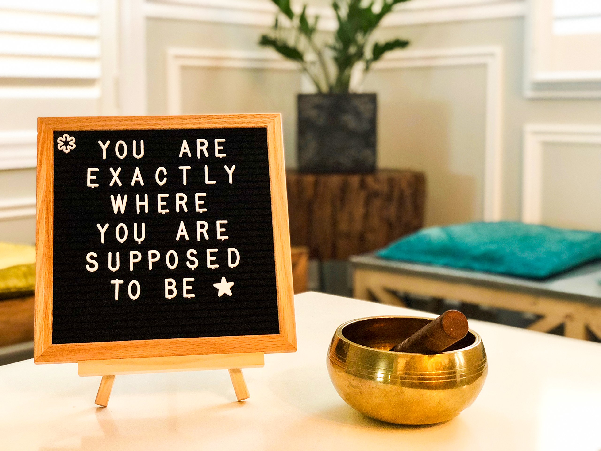 Felt Letter Board with 295 White Detachable Letters + 35 Emojis Framed in a Rustic 10x10 inches Oak Wood. Comes with: Free Oak Tripod Stand, Scissors, and Canvas Bag. by Arlington Enterprise (Image #4)