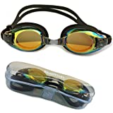 ON SALE! Best Kids Swim Goggles - Anti Fog - Mirror Coating - Latex Free - Easy Adjustable Strap - Clear Vision - No Leak Design - Free Protective Case - For Kids and Early Teens-PRIME