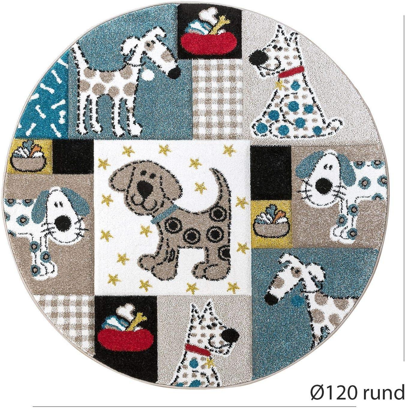 Gr/össe:/Ø 120 cm Rund Paco Home Kinderteppich Kinderzimmer Konturenschnitt Hunde Welt Beige Blau Pastellfarben
