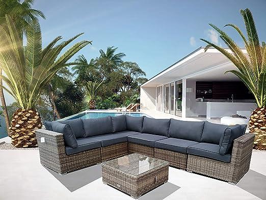 Luxurygarden - Sofá esquinero XL de ratán con Chaise Longue salón ...