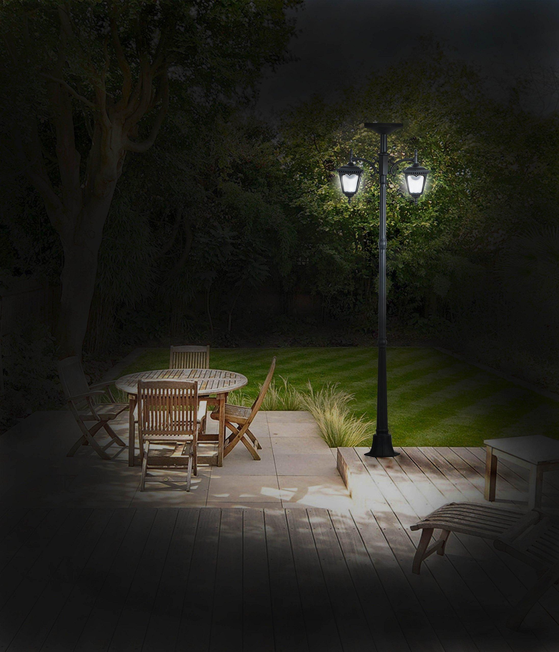 83'' Cast-Aluminum Solar-Powered LED Streetlight-Style Outdoor Light Lamppost