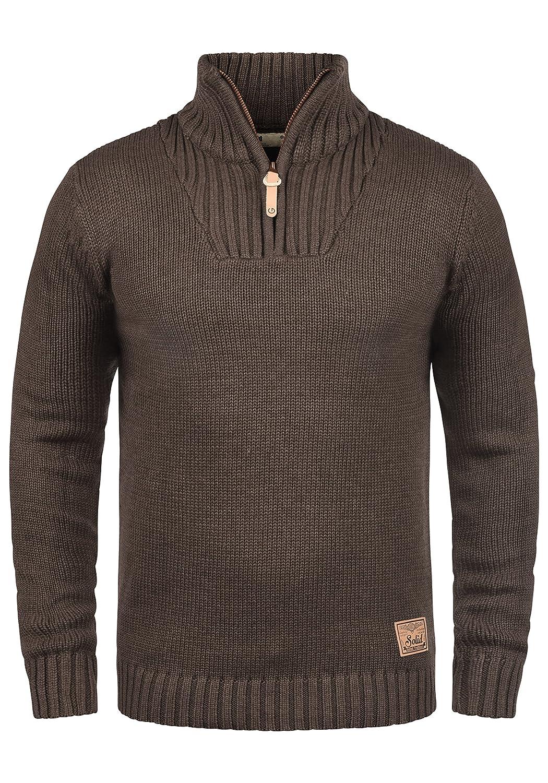 !Solid Petro Herren Strickpullover Troyer Grobstrick Pullover Mit Stehkragen Und Reißverschluss