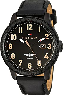Tommy Hilfiger Mens JASPER Quartz Stainless Steel and Leather Casual Watch, Color: