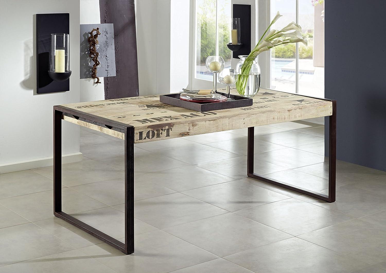 Legno Mango Legno Massello Ferro Tavolo da pranzo 76X140 massiccio stile industriale mobili in legno massello STAMPATA fabbrica #115