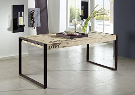 Tavolo Da Pranzo Industriale : Legno mango legno massello ferro tavolo da pranzo massiccio