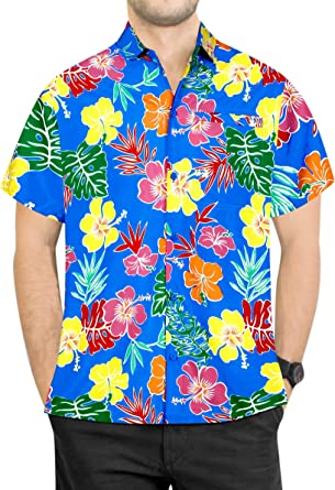 LA LEELA Camisa Hawaiana Aloha Bolsillo Hombres Playa de los