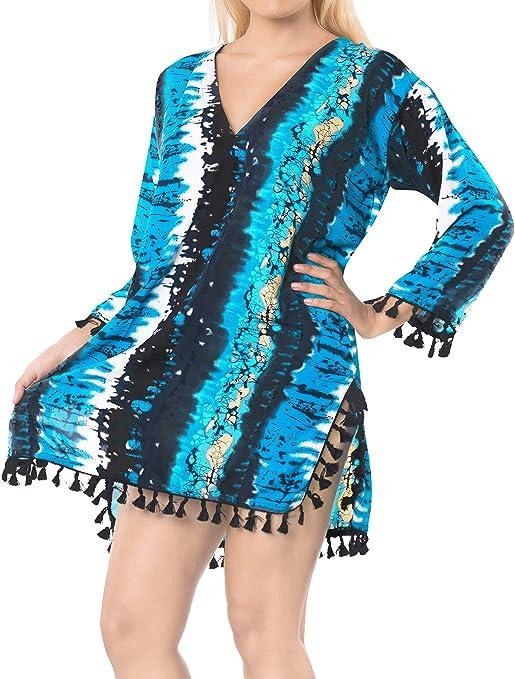 TALLA M: ES TAMAÑO 44 (XL). LA LEELA Mujeres marblebutti algodón Bikini Playa de Encubrir B011