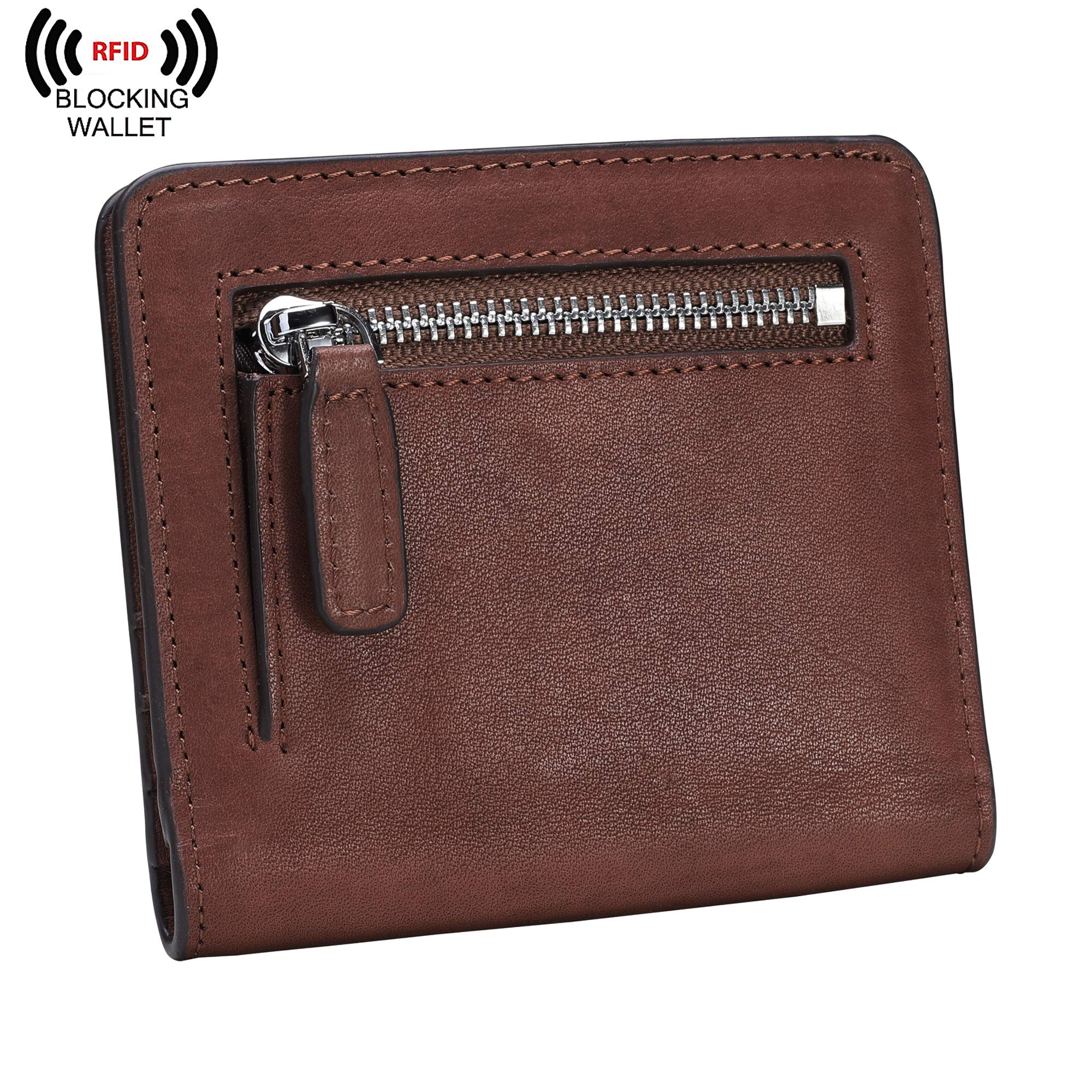 BIG SALE-AINIMOER Women's RFID Blocking Leather Small Compact Bifold Pocket Wallet Ladies Mini Purse with id Window (Vintage Brown) by AINIMOER (Image #2)