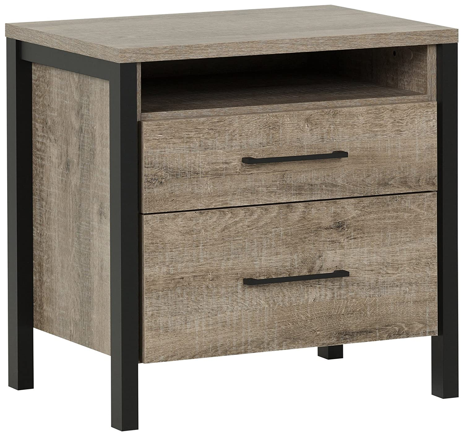 South Shore Furniture Munich 2-Drawer Nightstand, Weathered Oak 10493