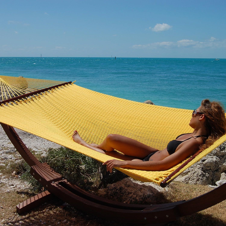 "Caribbean Hammocks 55"" Wide Jumbo Caribbean Hammock - Yellow - 600 lb Weight Capacity"