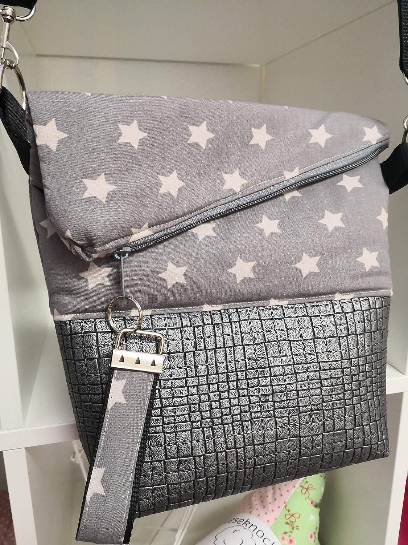 Hellgrau-Sterne Foldover Ausgefallene Damen-Handtasche Kunstleder Grau