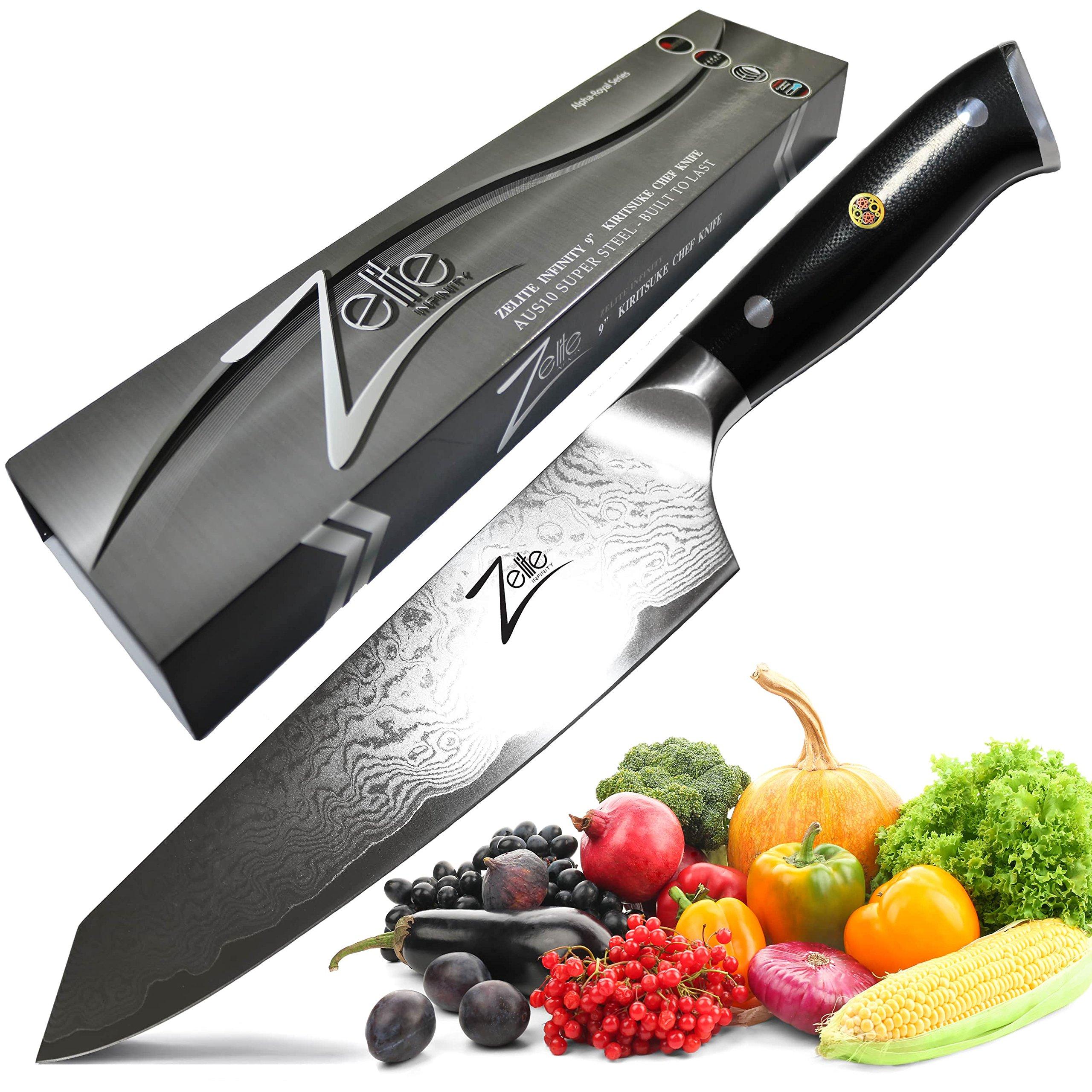 ZELITE INFINITY Kiritsuke Chef Knife 9 inch - Alpha-Royal Series - Best Quality Japanese AUS10 Super Steel 67 Layer Damascus – Surgically Sharp, Superior Performance, Ultra Versatile Chefs Knives
