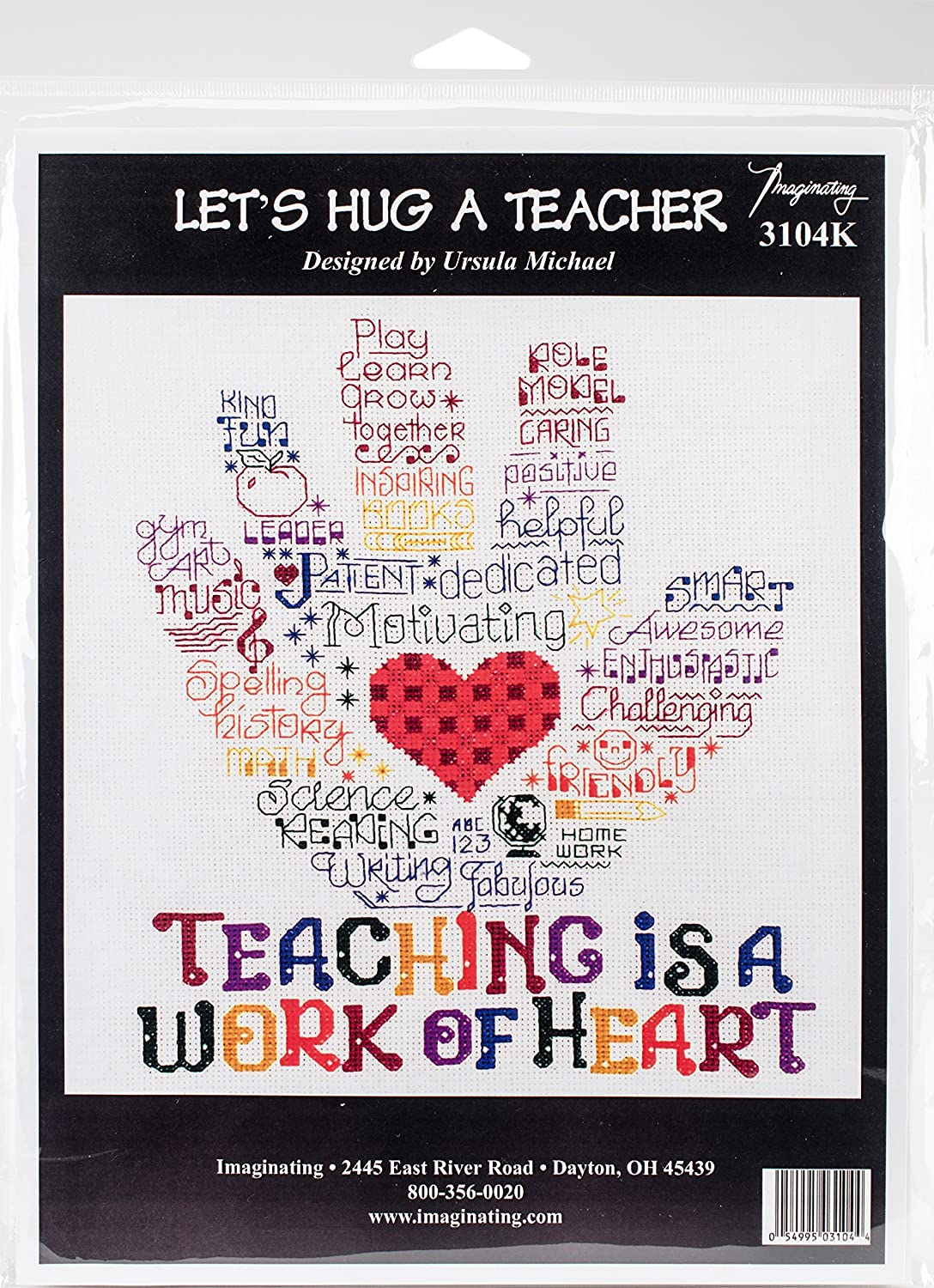 "M /& R Technologies Let/'s Hug A Teacher Counted Cross Stitch Kit-10/""X8.5/"" 14 Coun"